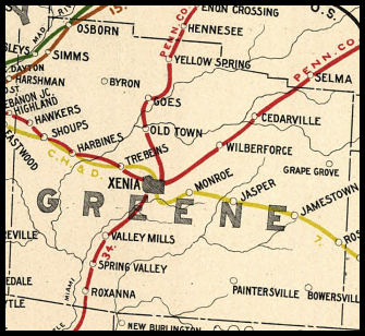 Greene County Ohio Railroad Stations - Map of cedarville ohio us
