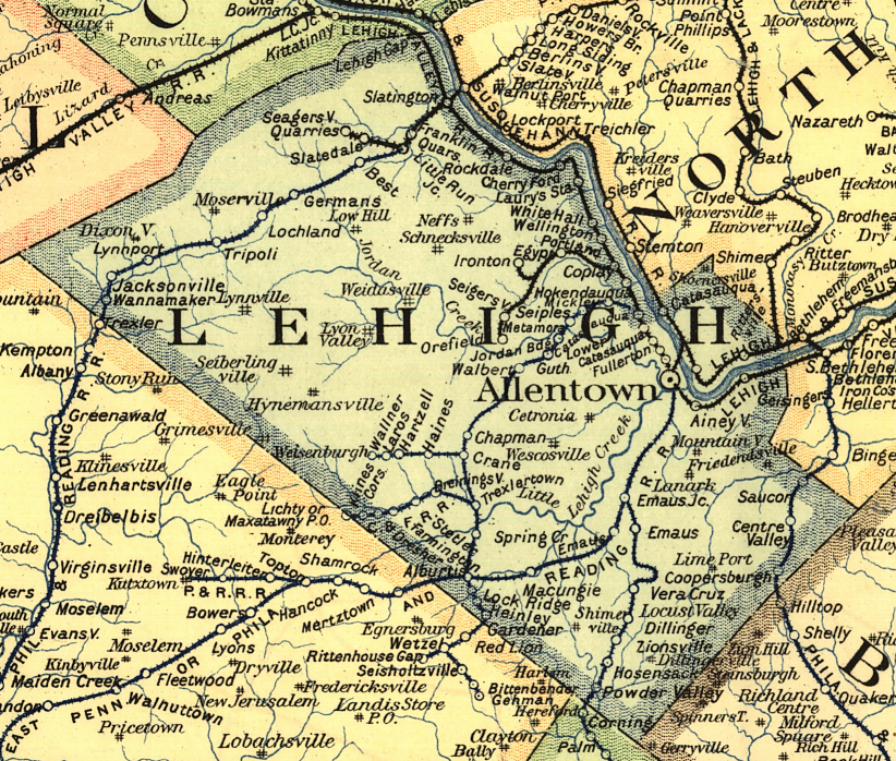 Map of Lehigh County pa Lehigh County Railroad Map