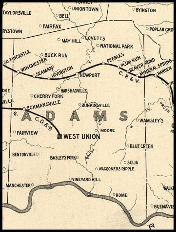Adams County Ohio Railroad Stations