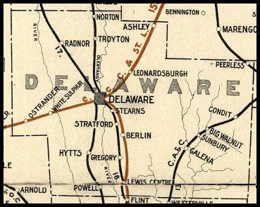 Ashley Ohio Map.Delaware County Ohio Railroad Stations