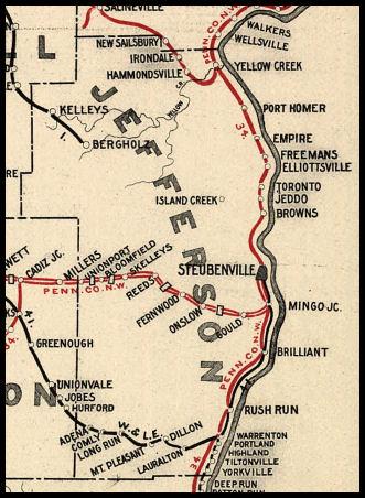 Brilliant Ohio Map.Jefferson County Ohio Railroad Stations