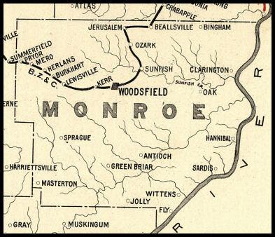 Woodsfield Ohio Map.Monroe County Ohio Railroad Stations