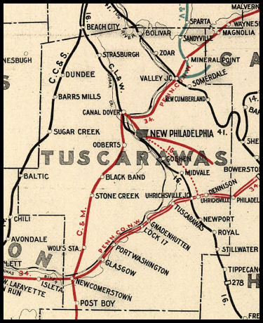 Newcomerstown Ohio Map.Tuscarawas County Ohio Railroad Stations