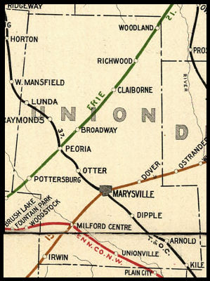 Union Ohio Map.Union County Ohio Railroad Stations