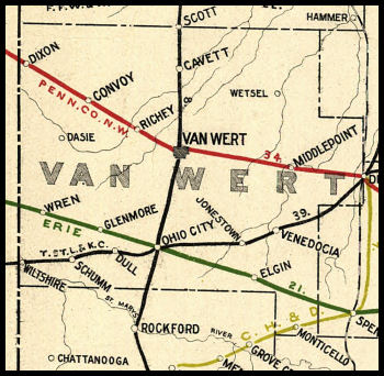 Van Wert County Ohio Railroad Stations